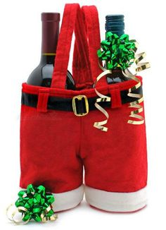 Red Santa Shorts Pants Treat Candy Wine Boltte Bags Useful for Christmas Gift