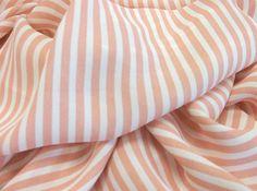 Sweet Peach and Cream Stripe Crape Fabric by sewwhatsnewfabrics, $6.00