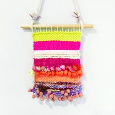 Mini Woven Wall Hanging with Pink Natural Yellow by Otisonetsy
