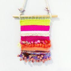 Woven Wall Hanging Mini with Pink Natural Yellow Fluro Art Yarn Batt, Pompom Trim | Handwoven Tapestry Weaving Fibre Art Textile Home Decor