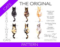 Quilled Scrollwork Cats Pattern