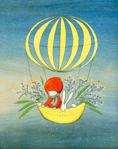 Items similar to Flower Traveler on Etsy Special Pictures, Cute Images, Whimsical Art, Cute Illustration, Beautiful Paintings, Character Concept, Cute Art, Folk Art, Balloons