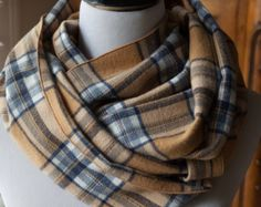 Camel, Gray and Navy Plaid Flannel Infinity Scarf