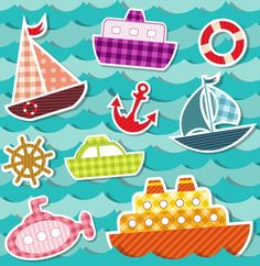 Ocean Transport Stickers - Free Vector Set