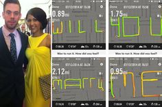 """A Portsmouth runner has proposed to his girlfriend by spelling out """"Will You Marry Me"""" using a GPS tracking app. Romantic Proposal, Proposal Photos, Romantic Weddings, Proposal Ideas, Wedding Photography Poses, Wedding Poses, Wedding Couples, Wedding Ideas, Wedding Pictures"""