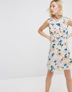 ASOS | ASOS Aline Dress with Pleated Yoke Front in Floral Print at ASOS