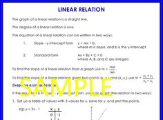This is a two page document summarizing the linear relation. This includes graphing, midpoint, distance formula, analytic geometry. COMING SOON: All of my math summary sheets in one PDF file. Teaching Math, Maths, Integers, Summary, Mathematics, Geometry, Distance, Pdf, Let It Be