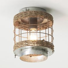 """Rope and Wire Cage Ceiling Light (9""""Hx8""""W) $129"""