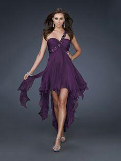 A-line One Shoulder Sashes Ribbons Chiffon Short/Mini Prom Dress at Millybridal.com