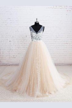 A-Line Prom Dresses #ALinePromDresses, Prom Dresses Long #PromDressesLong, Prom Dresses 2019 #PromDresses2019, Champagne Prom Dresses #ChampagnePromDresses