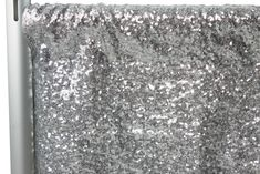 "Glitz Sequin 10ft H x 52"" W Drape/Backdrop panel - Silver ● $54.99 ● Available from www.cvlinens.com"