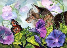 Cat art, butterfly art by noted painter Denise Freeman.