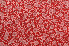 Vintage Cotton Fabric Red Fabric Cotton Floral Fabric www.thefabricscore.etsy.com #sewing #vintage #fabric #crafts #red