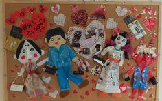 バレンタインと節分をコラボしました。包装紙・ペーパーバッグ・空き箱・果物を保護するネット・パンフレット切抜きです。手には巻き寿司を持ってます