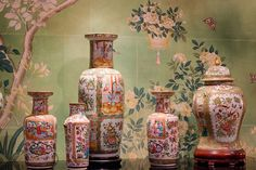 Chinese Rose Famille is breathtaking placed in front of this lovely scenic floral hand-painted Chinese paper from Gracie Studio. Chinese Paper, Chinese Ceramics, Ginger Jars, White Enamel, Soft Colors, Chinoiserie, Hand Painted, Wallpaper, Bottle