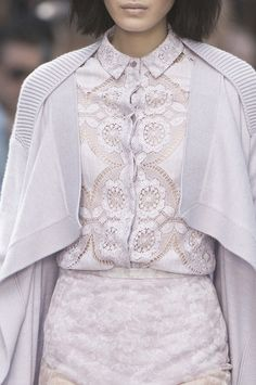 Lilac lace shirt + cardigan; layered pastel fashion details // Burberry Prorsum Spring 2014