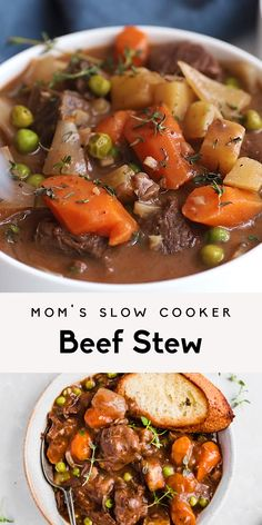 Mom's best ever slow cooker beef stew cooked to perfection with dry red wine, garlic, fresh herbs and tender potatoes and carrots. This easy beef stew recipe is just like the classic one you grew up w Soup Recipes, Healthy Recipes, Recipes With Diced Beef, Slow Cook Beef Recipes, Stewing Beef Recipes, Slow Cooker Recipes Family, Slow Cook Beef Stew, Healthy Lunches, Family Recipes