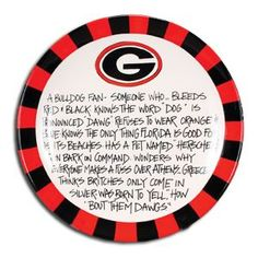 UGA Serving Platter that provides the definition of a Georgia fan