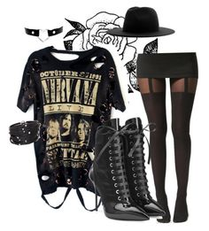 """It's a BlackOwt tonight ! #Nirvana"" by heavydressing on Polyvore featuring Forever 21, Boohoo, Giuseppe Zanotti, Études and Sif Jakobs Jewellery"