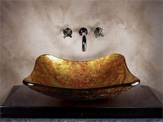 Lexie Metallic Gold Glass basin ( x in) Uniquely shaped regtangular basin, with rounded edges, smooth interior in autumn colors, textured paint exterior in complimenting colors Glass Basin, Glass Vessel Sinks, Gold Glass, Texture Painting, Exterior Paint, Color Splash, Home Furnishings, Decorative Bowls, Bathrooms