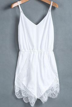 White Plain Lace Sleeveless Spandex Jumpsuit Shorts