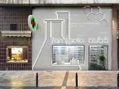 Farmacia fino a 50 mq Design Exterior, Facade Design, House Design, Retail Facade, Shop Facade, Display Design, Booth Design, Retail Store Design, Retail Shop