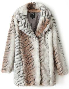 Apricot Long Sleeve Leopard Faux Fur Coat - Sheinside.com