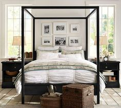 I like the picture collage above the bed. Pottery Barn master bedroom ideas