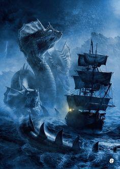 Amazing sea monster art by David Gaillet Mythological Creatures, Mythical Creatures, Sea Creatures, Fantasy World, Dark Fantasy, Medieval Fantasy, Final Fantasy, Digital Art Illustration, Fantasy Illustration