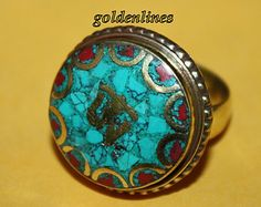 Nepalese Tibetan Handmade Turquoise Coral Ring by goldenlines