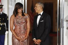 President Barack Obama and first lady Michelle Obama at Final State Dinner - 10 Times Johnny Wright Slayed Michelle Obama's Hair To Perfection Justin Trudeau, Beautiful Evening Gowns, Stunning Dresses, Naeem Khan, Tadashi Shoji, Atelier Versace, High Society, Gwen Stefani, Michelle Obama Vestidos