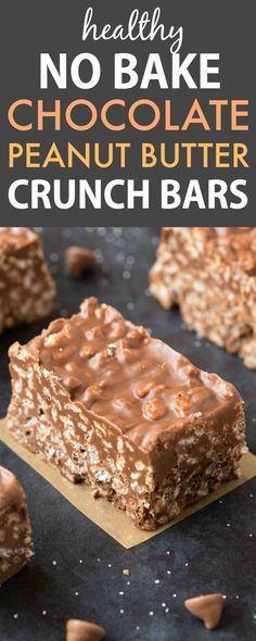 No Bake Chocolate Peanut Butter Crunch Bars (V, GF, DF)- Easy, fuss-free and delicious, this healthy candy bar copycat combines cereal, chocolate and peanut butter in one! {vegan, gluten free, sugar free recipe}- thebigmansworld.com