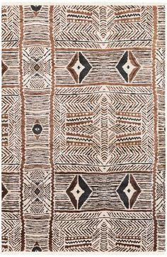 Tribal-inspired Zambia rug from Surya in a visually appealing beige, mocha and charcoal design (ZAM-1000).