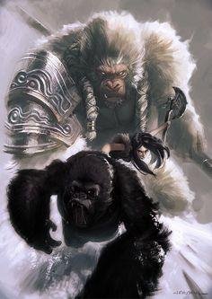 Gorilla and rider