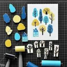 Trees Block Print Pattern by Andrea Lauren (Andrea Lauren), . Trees Block Print Pattern by Andrea Lauren (Andrea Lauren), Stamp Printing, Printing On Fabric, Screen Printing, Lino Print Artists, Eraser Stamp, Stamp Carving, Handmade Stamps, Linocut Prints, Printmaking