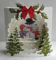 Hoi Allemaal, Ik heb nog een winterkaartje gemaakt, dit is een klein kaartje van 10 x 10 cm. Het plaatje is van Morehead. De kerstbomen...