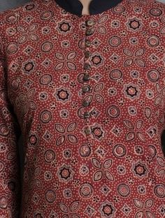 Maroon-Black Mandarin Collar Front Button Closure Ajrakh Cotton Kurta Casual Work Outfits, Work Casual, Kurta Designs, Blouse Designs, Kurti With Jacket, Kurta Neck Design, Ethnic Print, Indian Attire, Mandarin Collar