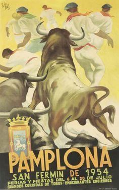 For Sale on - Original vintage travel advertising poster for the 1954 San Fermin festival in Pamplona Spain on July / San Fermin de 1954 Ferias y Fiestas del 6 San Fermin Pamplona, Pamplona Spain, Running Of The Bulls, Retro Poster, Wall Art Prints, Canvas Prints, Festival Posters, Advertising Poster, Movie Posters