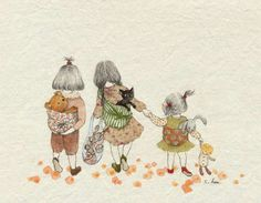 three friends walking