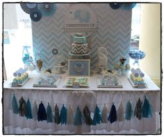 This could be an adorable first birthday or baby shower!  Chevron and Blue Elephant Baptism Party Ideas   Photo 2 of 15