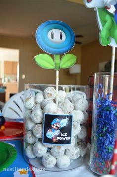 Super Mario Brothers Birthday Party! Love the doughnut hole idea! Via KarasPartyIdeas.com
