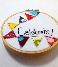Embroidery hoop art 4  inch bunting by ChocolateDogStudio on Etsy, $13.00