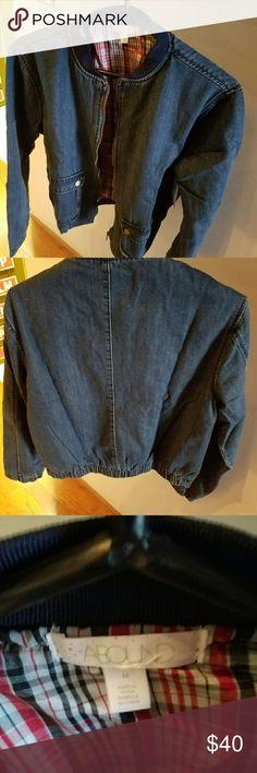 Bomber jacket Denim bomber jacket, never worn Abound Jackets & Coats Jean Jackets