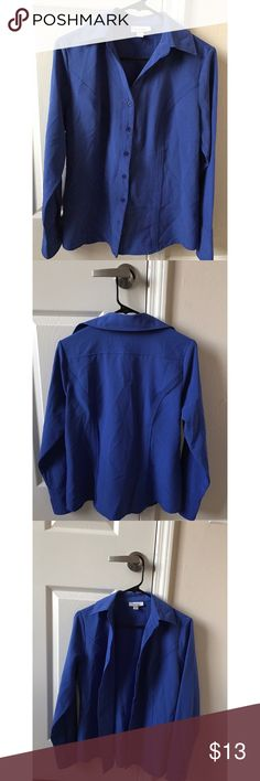 Dressbarn shirt Dressbarn royal blue collar blouse. Loose-fitted style. Super cute for work/formal wear. It's a size small but will fit medium as well, it just might be a teeny bit snug for mediums. Work like once or twice. Very good condition. Dress Barn Tops Button Down Shirts