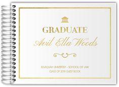 Faux Gold Foil Ampersand Graduation Guest Book