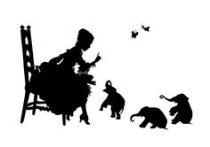 Silhouette Girl reads to Baby Elephants Victorian by emporiumshop