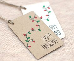 Holiday gift tags inspired by Christmas lights. :) My Etsy shop. My blog on Tumblr.
