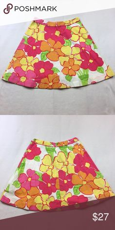 Lilly Pulitzer Skirt Lilly Pulitzer Vintage White Label Skirt. Pink, Yellow, Green and Orange Floral Print. A-Line. Zipper and Button Closure In Back. Size 8 Lilly Pulitzer Skirts Mini