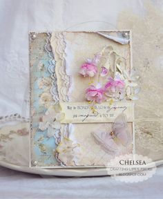 True love with this card...layers of luscious papers and lace topped off by gorgeous flowers (fushia) and a butterfly. I must check out the tutorial for this beauty!     ♥ Love ♥ Crafting Life's Pieces: Fushia flower card and Tutorial