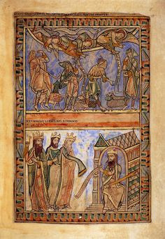 Winchester Psalter - For Henry of Blois 1150. Modest dress of shepherds is very practical. Simple short cotes, cloaks with hoods, sheepskin hood, hose, high and low boots and leggings.  3 wise men have over long sleeves and decorated cuffs.